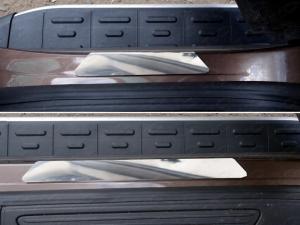 Volkswagen Touareg 2014 Накладки на пороги (зеркальные)